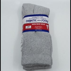 3 Pk Mens Diabetic Grey Crew Socks Shoe Size 7-13